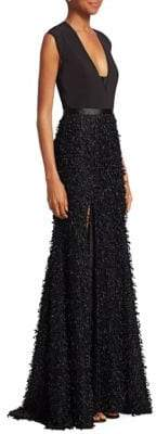 Halston Feather Boucle Gown