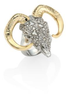 Alexis Bittar Elements Crystal-Encrusted Horned Ram Ring $275 thestylecure.com