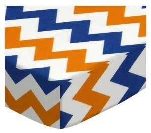 Graco SheetWorld Fitted Pack N Play Sheet - Orange & Blue Chevron - Made In USA - 27 inches x 39 inches (68.6 cm x 99.1 cm)