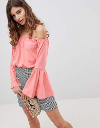 Asos DESIGN Off Shoulder Top With Flared Sleeve