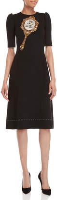 Dolce & Gabbana Black Beaded Mirror Short Sleeve Dress