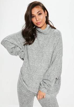 Missguided Gray Brushed Turtle Neck Super Oversized Longline Top
