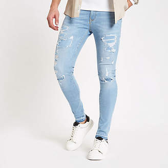 River Island Mens Light Blue ripped Ollie skinny spray on jeans