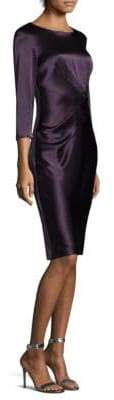 St. John Satin Quarter-Sleeve Sheath Dress