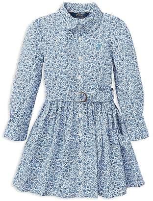 Polo Ralph Lauren Girls' Floral Shirt Dress with Belt - Little Kid