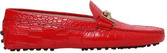 Tod's Gommino Double T Croc Embossed Loafers