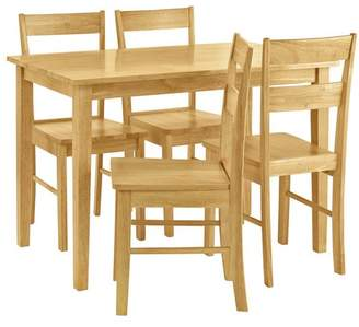 Argos Home Chicago Solid Wood Table & 4 Chairs - Natural