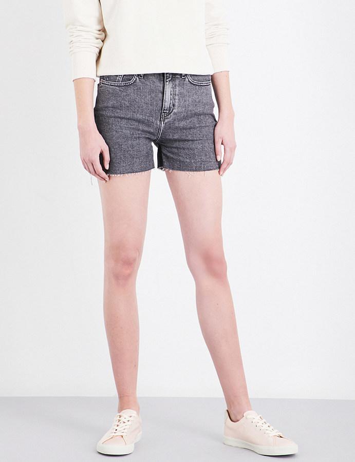 Calvin KleinCalvin Klein High-rise frayed-hem stretch-denim shorts