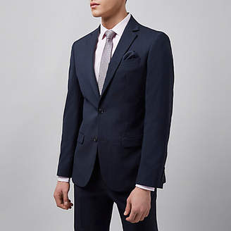 River Island Navy tailored fit suit jacket