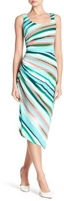 London Times Stripe Printed Side Ruched Dress