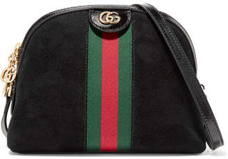 Gucci Ophidia Patent Leather-trimmed Suede Shoulder Bag - Black