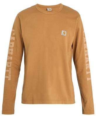 Junya Watanabe X Carhartt Logo Print Long Sleeved Cotton T Shirt - Mens - Brown
