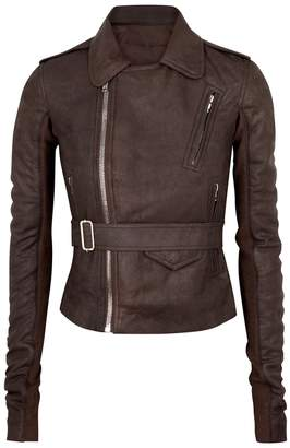 Rick Owens Stooges Dark Brown Leather Biker Jacket