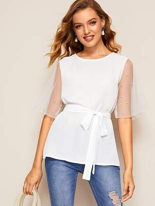 Shein Pearl Beaded Mesh Flutter Sleeve Belted Top