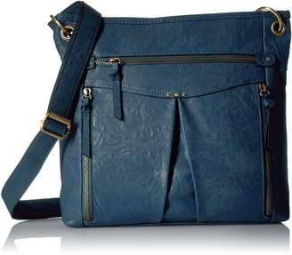 Bueno of California Multiple Zip Pocket Shoulder Bag in Dk Blue