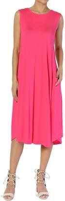 TheMogan Women's Sleeveless Pocket A-line Fit and Flare Midi Long Dress M