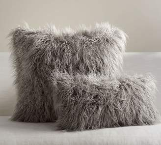 Pottery Barn Mongolian Faux Fur Pillow Cover - Frost Gray