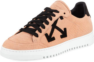 Off-White Off White Carryover Snake-Print Leather Lace-Up Sneakers
