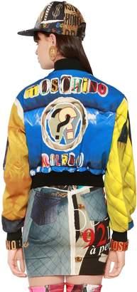 Moschino Printed Matt Satin Cropped Bomber Jacket