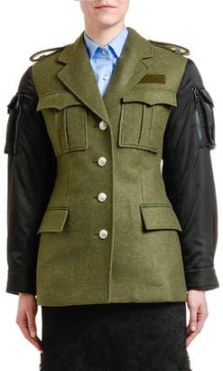 Prada Nylon-Sleeve Military Coat