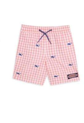 Vineyard Vines Toddler's, Little Boy's& Boy's Micro-Gingham Whale-Embroidered Shorts