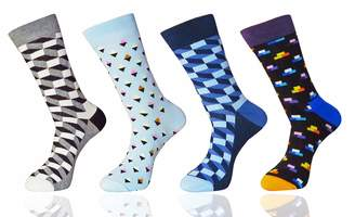 b78bdbd45f23 MYMYU 4 Pack Mens Funky Colorful Assorted Patterns Casual Cotton Crew Dress  Socks (Color 5