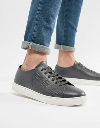 Emporio Armani Embossed Logo Leather Sneakers In Steel Blue