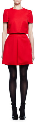 Alexander McQueen Short-Sleeve Popover Mini Dress, Flame $1,885 thestylecure.com