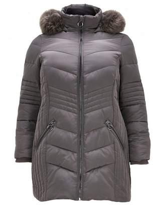 Evans Grey Padded Faux Fur Coat