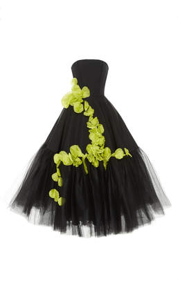 Christian Siriano Floral Detail Silk And Tulle Cocktail Dress