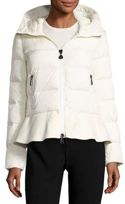 Moncler Nesea Quilted Puffer Coat w/Wool Trim $1,175 thestylecure.com