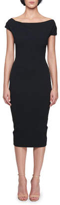 Victoria Beckham Off-the-Shoulder Knee-Length Jersey Sheath Dress