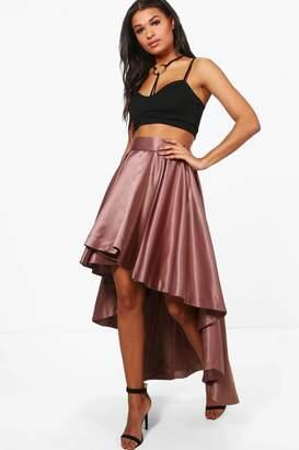 boohoo Annia Satin Dipped Hem Full Maxi Skirt