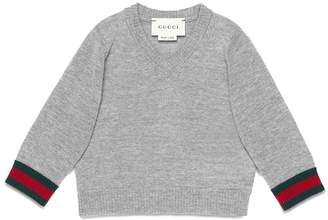Gucci Kids Web V-neck sweater