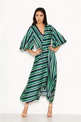 AX Paris Womens Satin Striped Midi Dress - Green