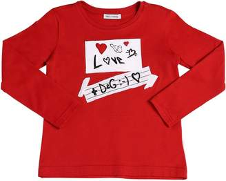 Dolce & Gabbana Love Patches Jersey Long Sleeve T-Shirt