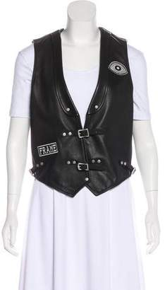Frame Leather Patch-Accented Vest