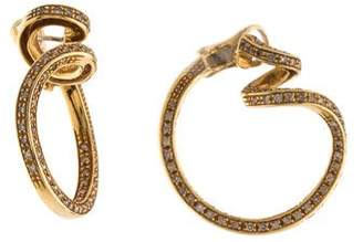 Damiani 18K Diamond Inside-Out Spiral Hoop Earrings