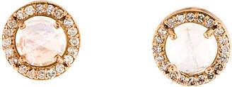 Downtown Diamonds Adornia 14K Rose Gold 2.30 Ct. Tw. Diamond & Moonstone Halo Studs