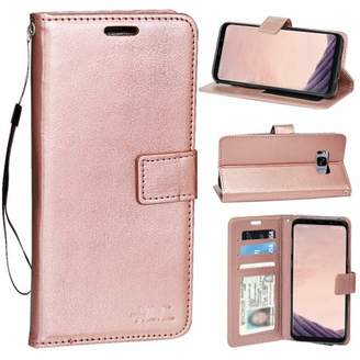 HLC Real Plain Leather Wallet Case for Galaxy S8 Plus (Rose Gold)