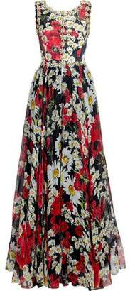 Dolce & Gabbana Embellished Floral-Print Silk-Blend Jacquard And Chiffon Gown