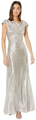 Tahari ASL Short Sleeve Metallic Gown with Draped Neck and Soft Ruched Bodice