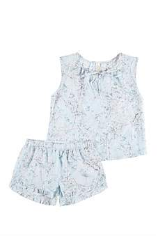 Papinelle Girls Cherry Blossom Blue Slvless Top & Boxer Set