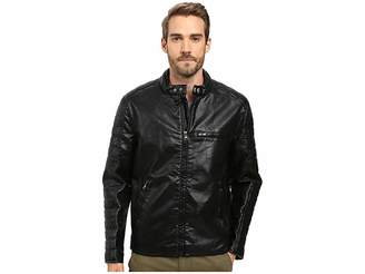 Andrew Marc Watkins Distressed Faux Leather Moto Jacket with Quilted Sleeves Men's Coat