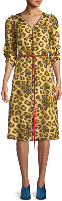 Marc Jacobs V-Neck Ruched-Sleeves Leopard-Print Dress w/ Contrast Leather Belt