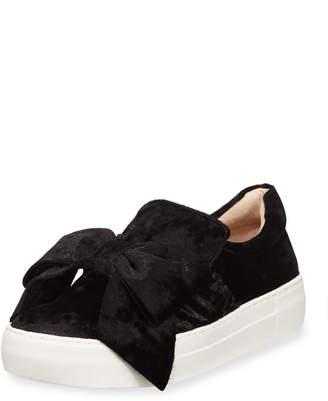 J/Slides Velvet Platform Sneakers w/Bow