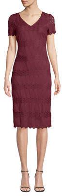 Neiman Marcus Short-Sleeve Lace Sheath Midi Dress