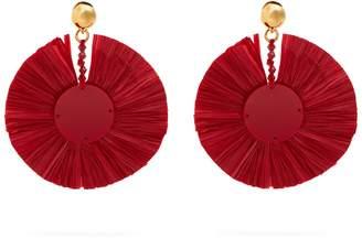 OSCAR DE LA RENTA Bead-embellished small raffia disc-drop earrings