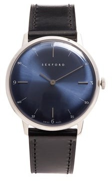 Sekford Watches - Type 1a Stainless Steel And Smooth Leather Watch - Mens - Black Navy