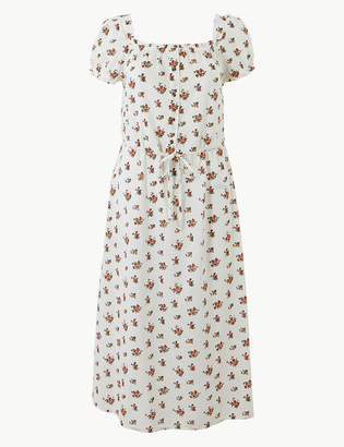 Marks and Spencer Pure Cotton Floral Waisted Midi Dress